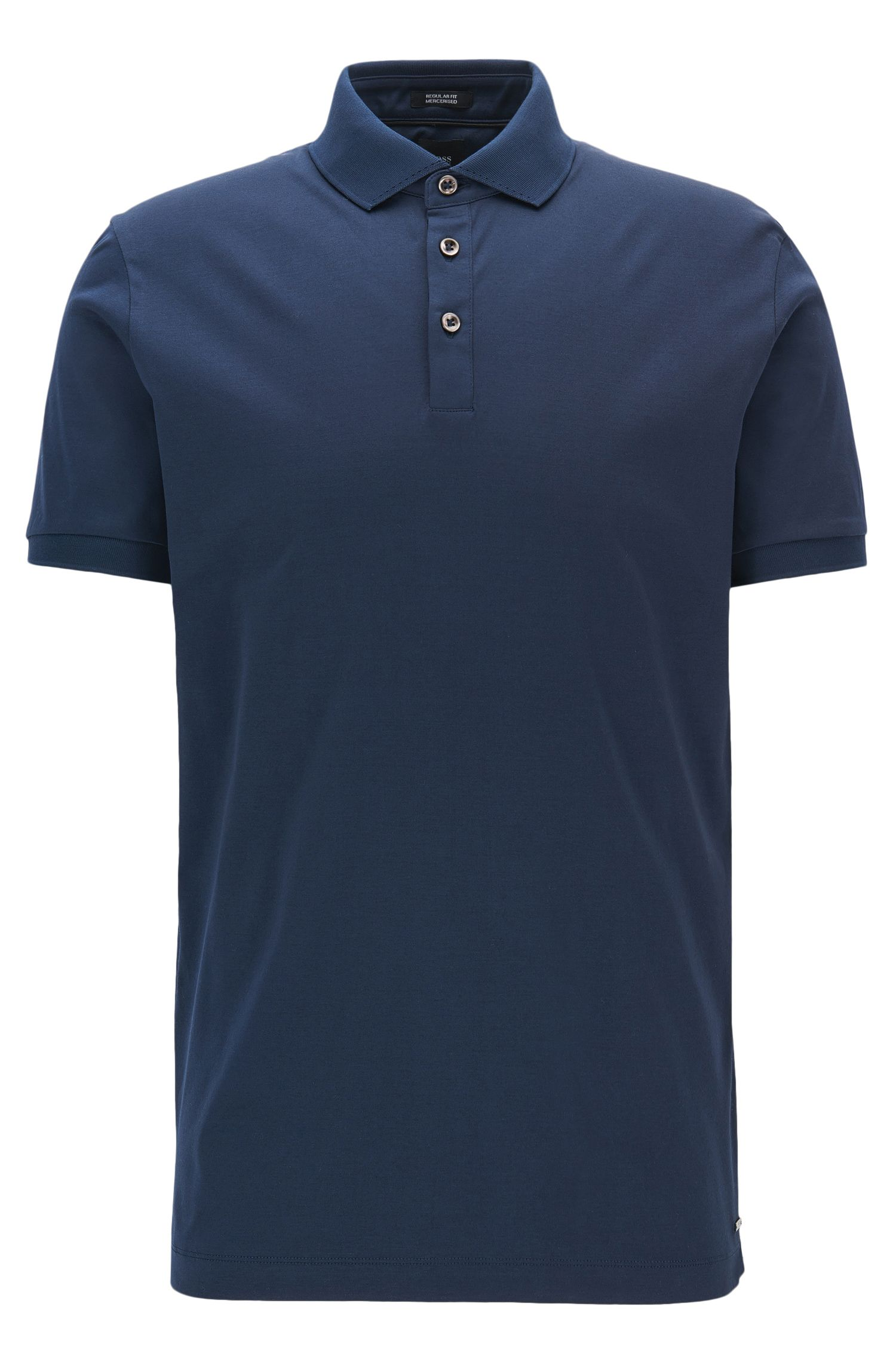 Polo Regular Fit en coton égyptien interlock, Bleu foncé