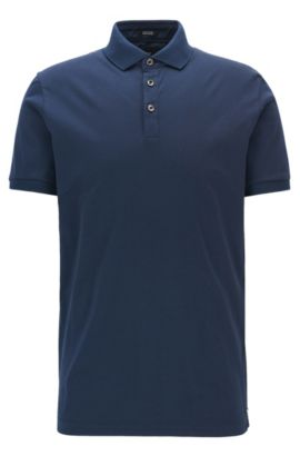 Polo regular fit in cotone egiziano intrecciato, Blu scuro