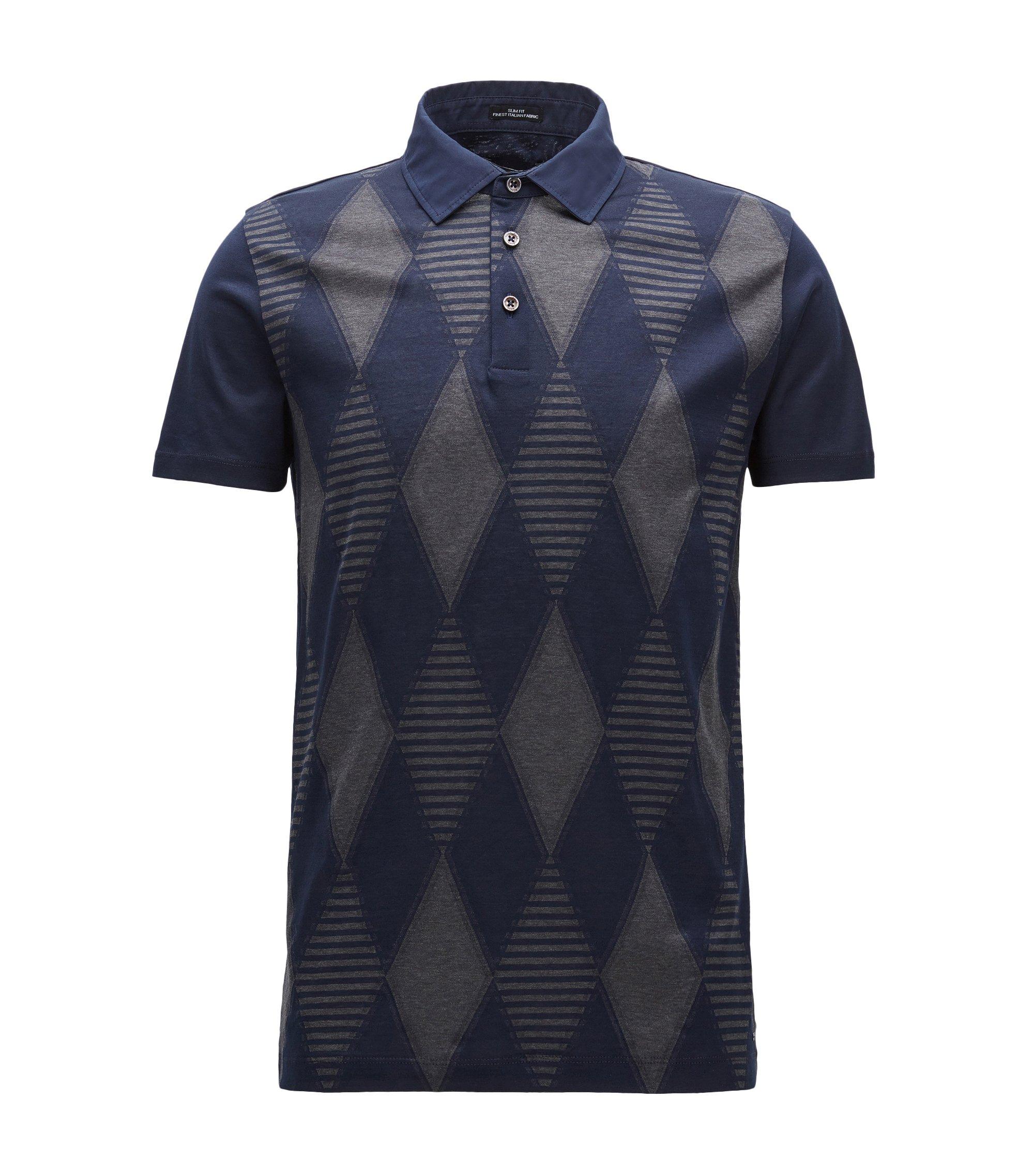 Argyle fil coupé slim-fit cotton T-shirt with polo neck, Dark Blue
