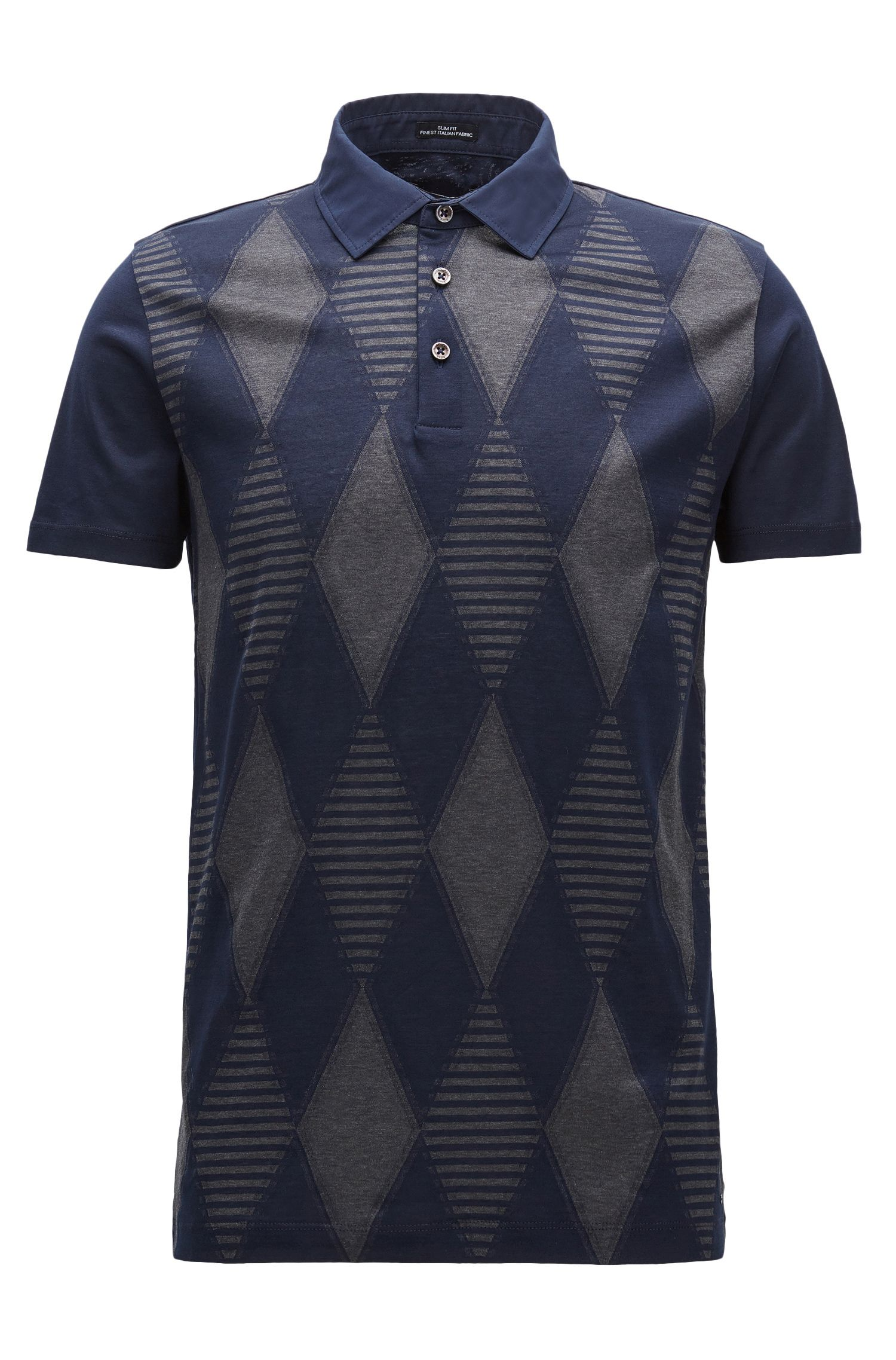 Argyle fil coupé slim-fit cotton T-shirt with polo neck