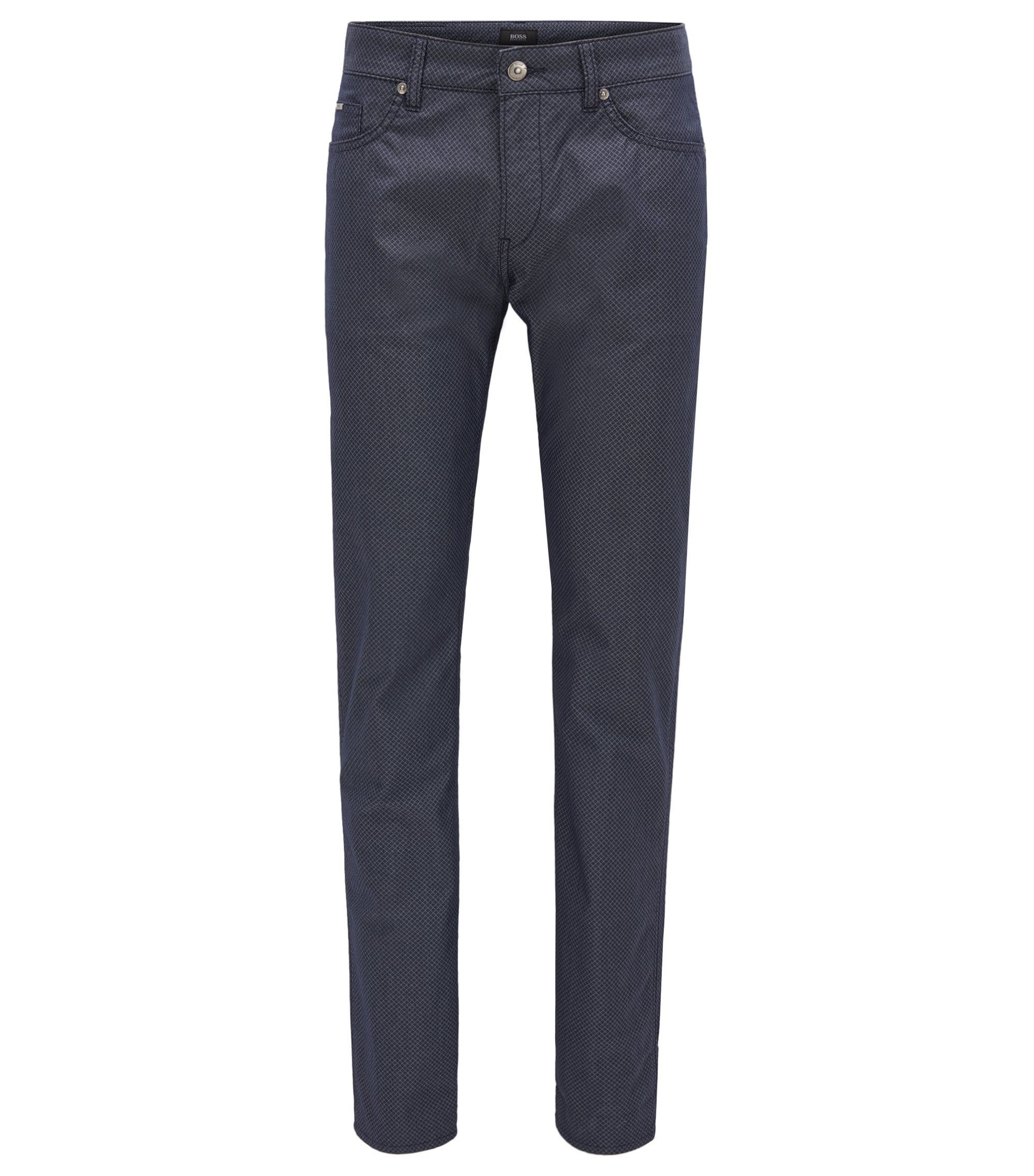 Slim-fit jeans van denim met diamantprint, Donkerblauw