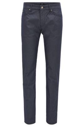 Jeans slim fit in denim con stampa a rombi, Blu scuro