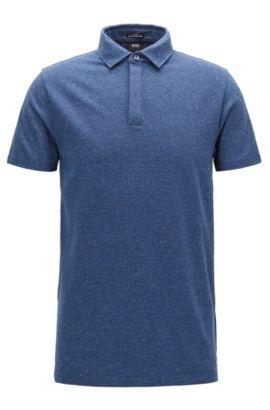 Polo Slim Fit en jacquard de coton pied-de-poule, Bleu foncé