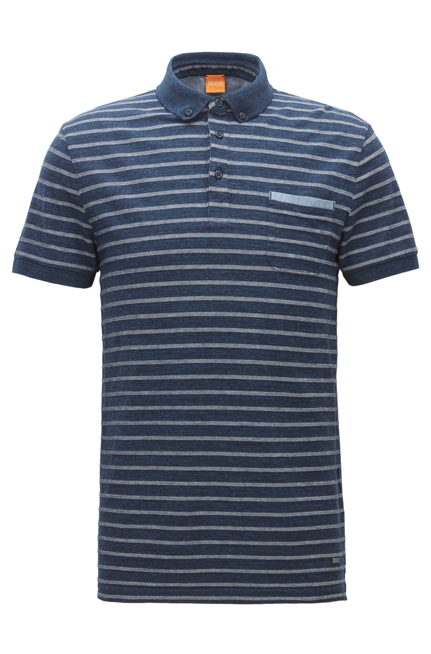 Regular-fit polo shirt in a melange jersey with jacquard stripes
