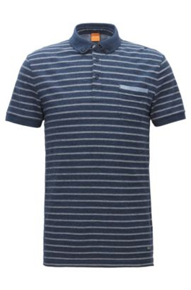 Polo regular fit in jersey mélange con righe jacquard, Blu scuro