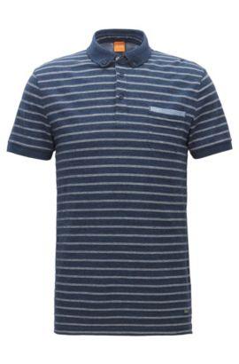 Regular-fit polo van gemêleerde jersey met jacquardstrepen, Donkerblauw