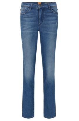 Slim-Fit Jeans aus Stretch-Denim mit Kontrast-Streifen, Blau