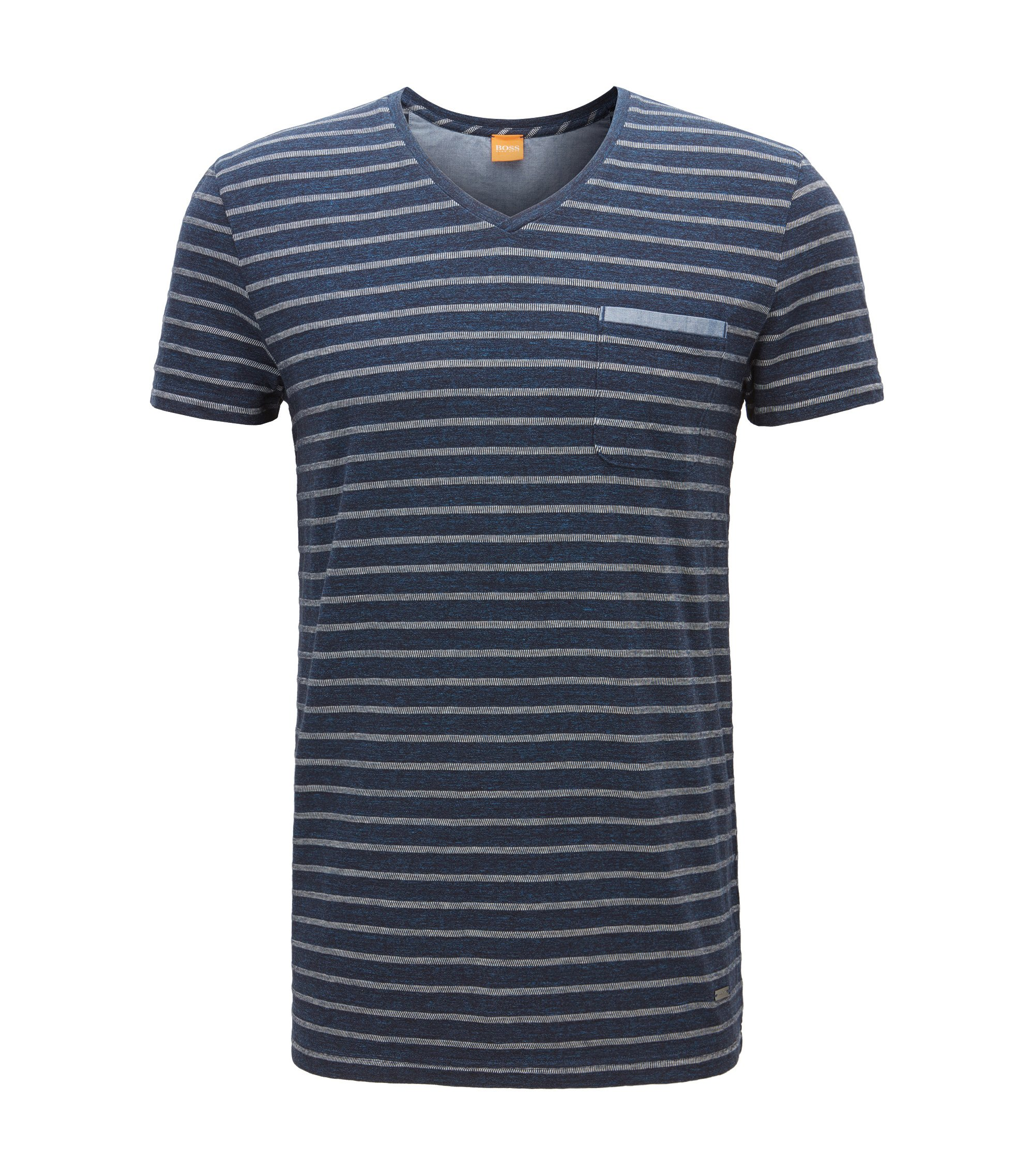 Regular-fit T-shirt in mélange jersey, Dark Blue