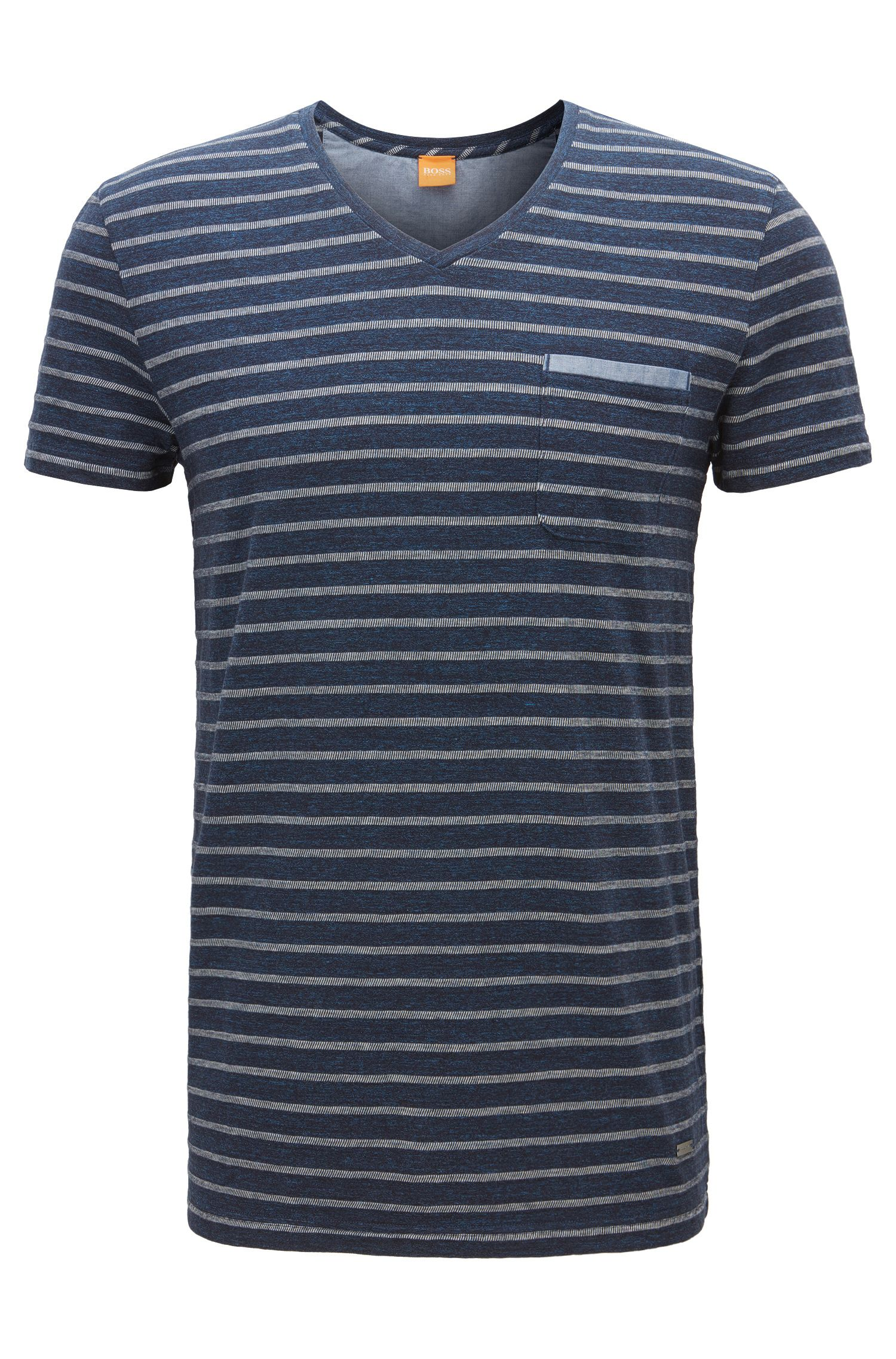 T-shirt regular fit in jersey mélange, Blu scuro