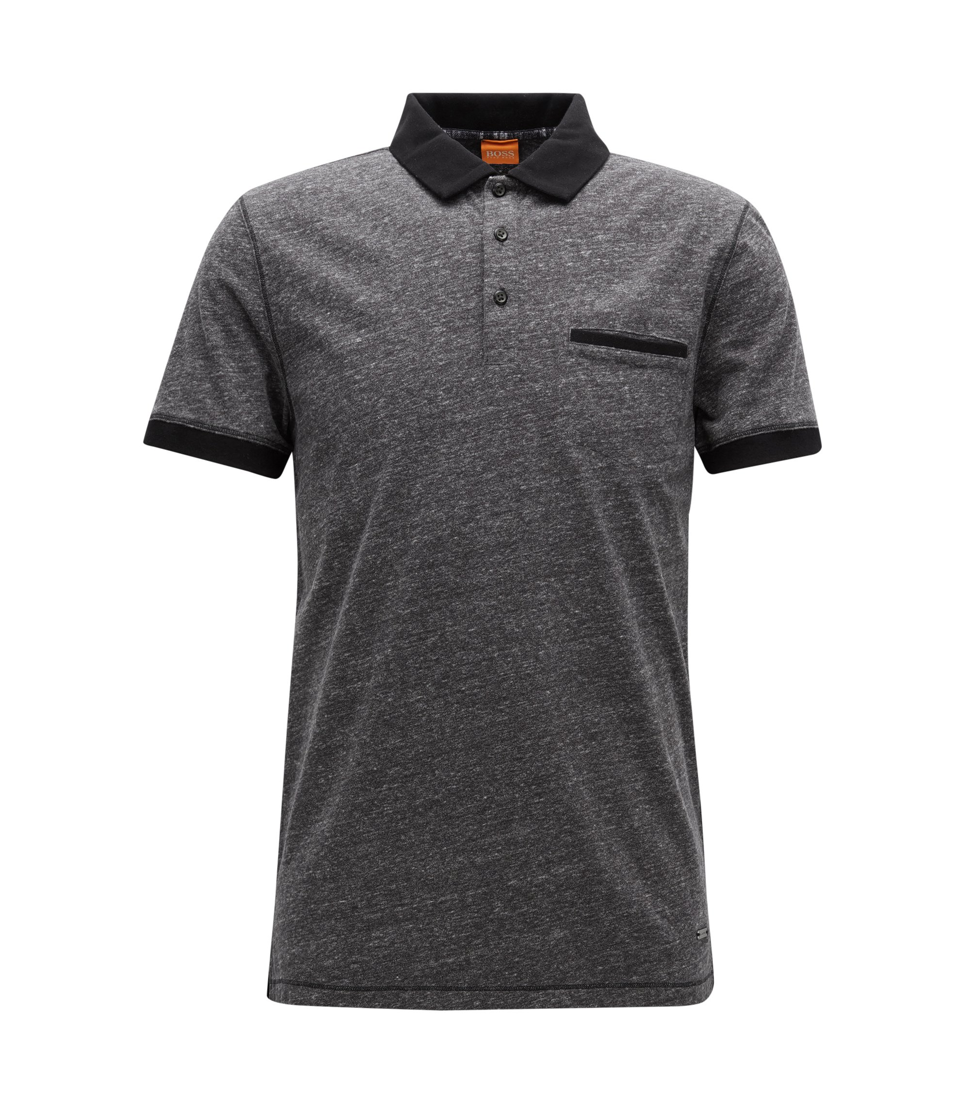 Regular-fit polo shirt in heathered jersey, Black