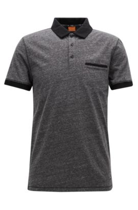 Polo Regular Fit en jersey chiné, Noir