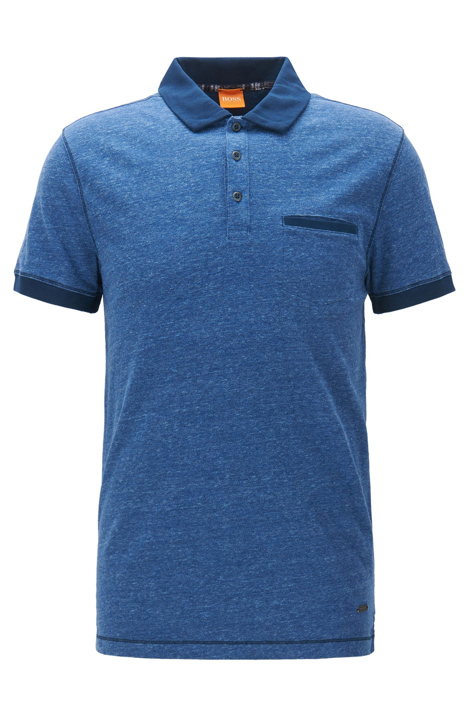 Regular-fit polo shirt in heathered jersey