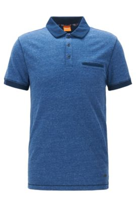 Polo Regular Fit en jersey chiné, Bleu