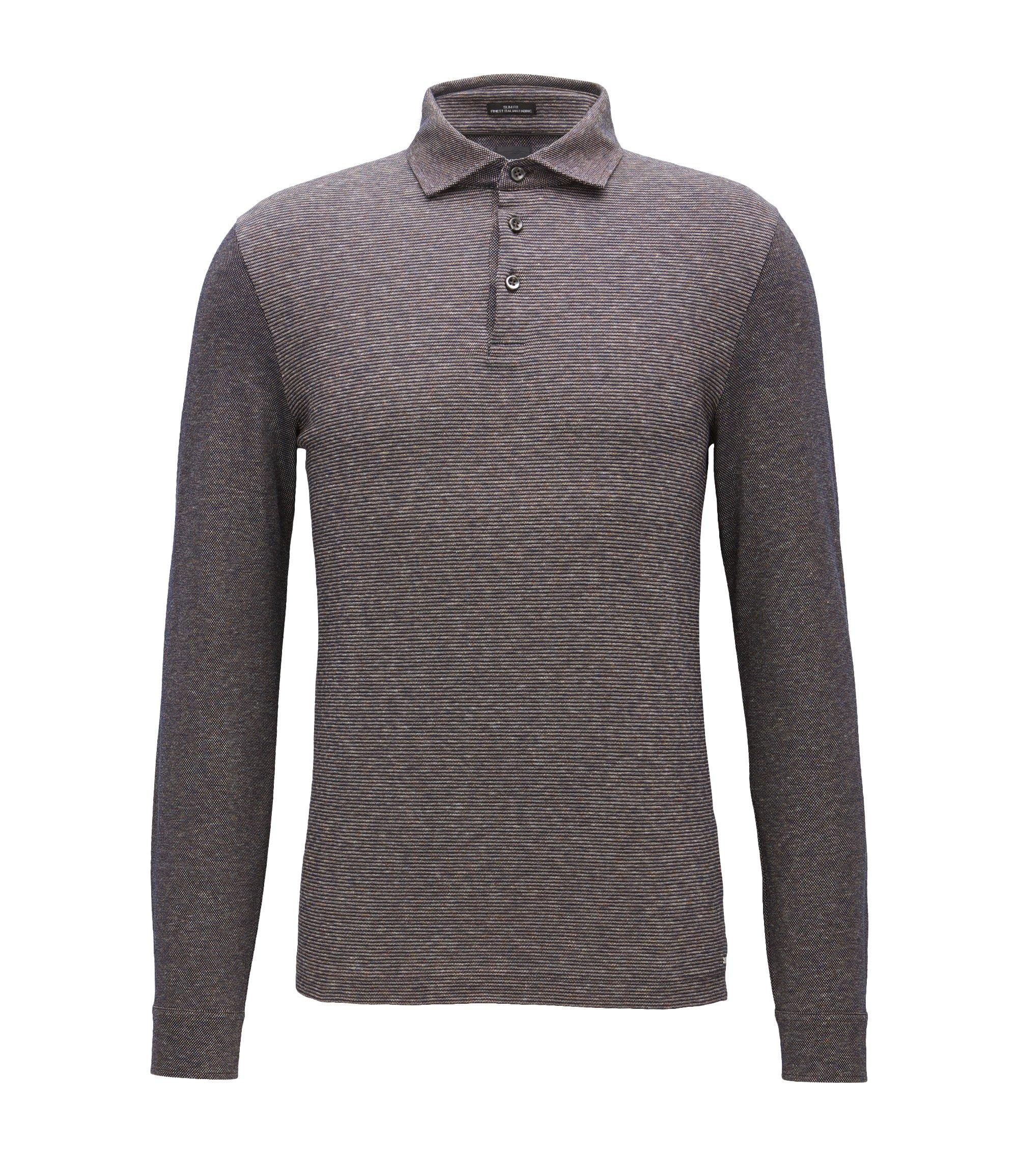 Polo Slim Fit à manches longues en coton avec panneau en jacquard à rayures, Marron
