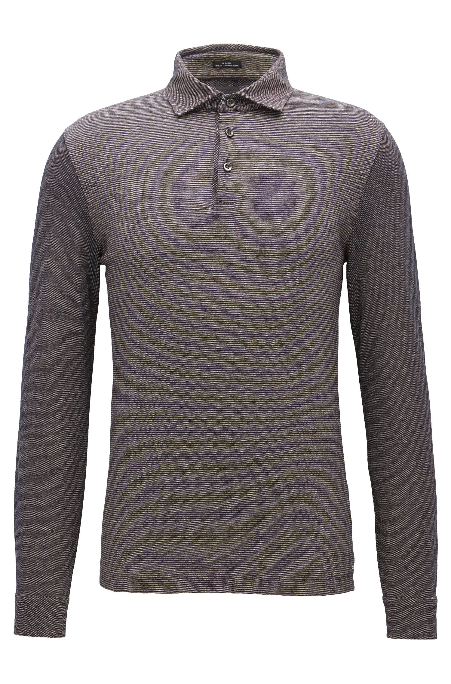 Slim-fit long-sleeved cotton polo shirt with striped jacquard panel