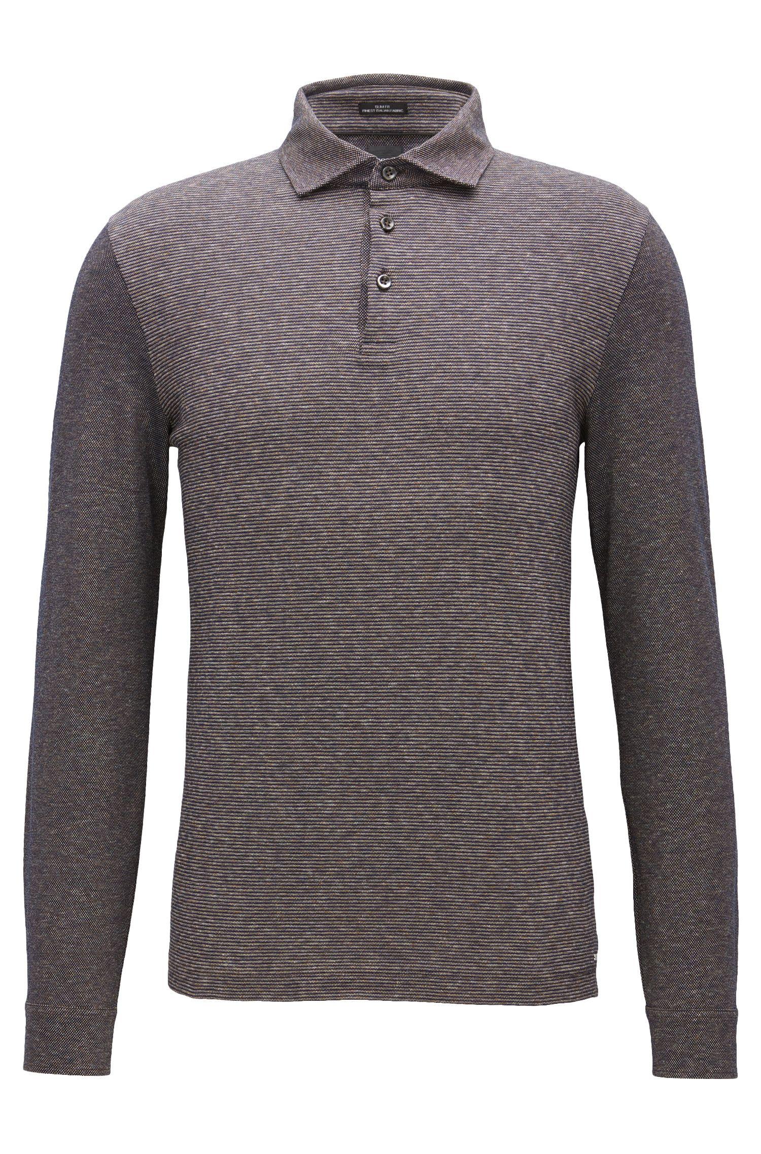Slim-Fit Longsleeve Poloshirt aus Baumwolle mit gestreiftem Jacquard