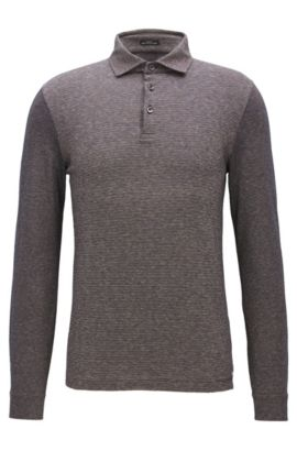 Slim-fit long-sleeved cotton polo shirt with striped jacquard panel, Brown