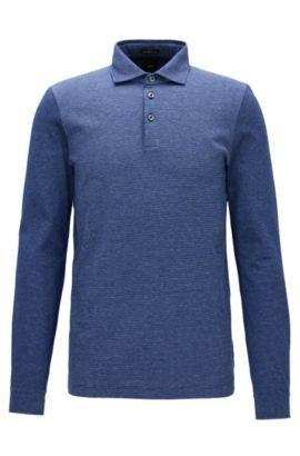 Polo Slim Fit à manches longues en coton avec panneau en jacquard à rayures, Bleu