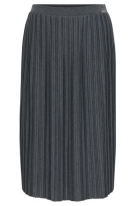 A-line skirt in plissé jersey, Grey