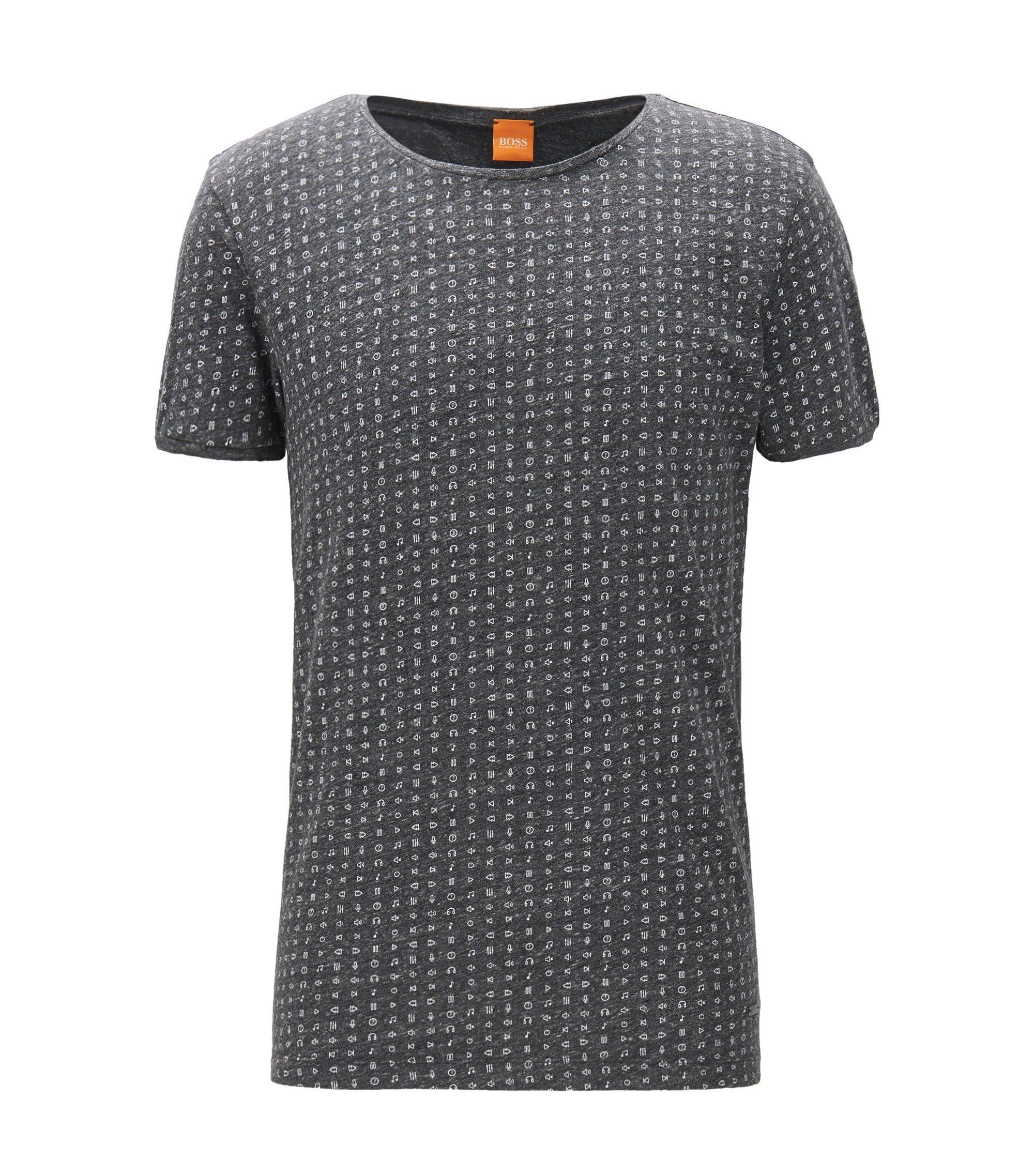 T-shirt regular fit in jersey mélange, Nero