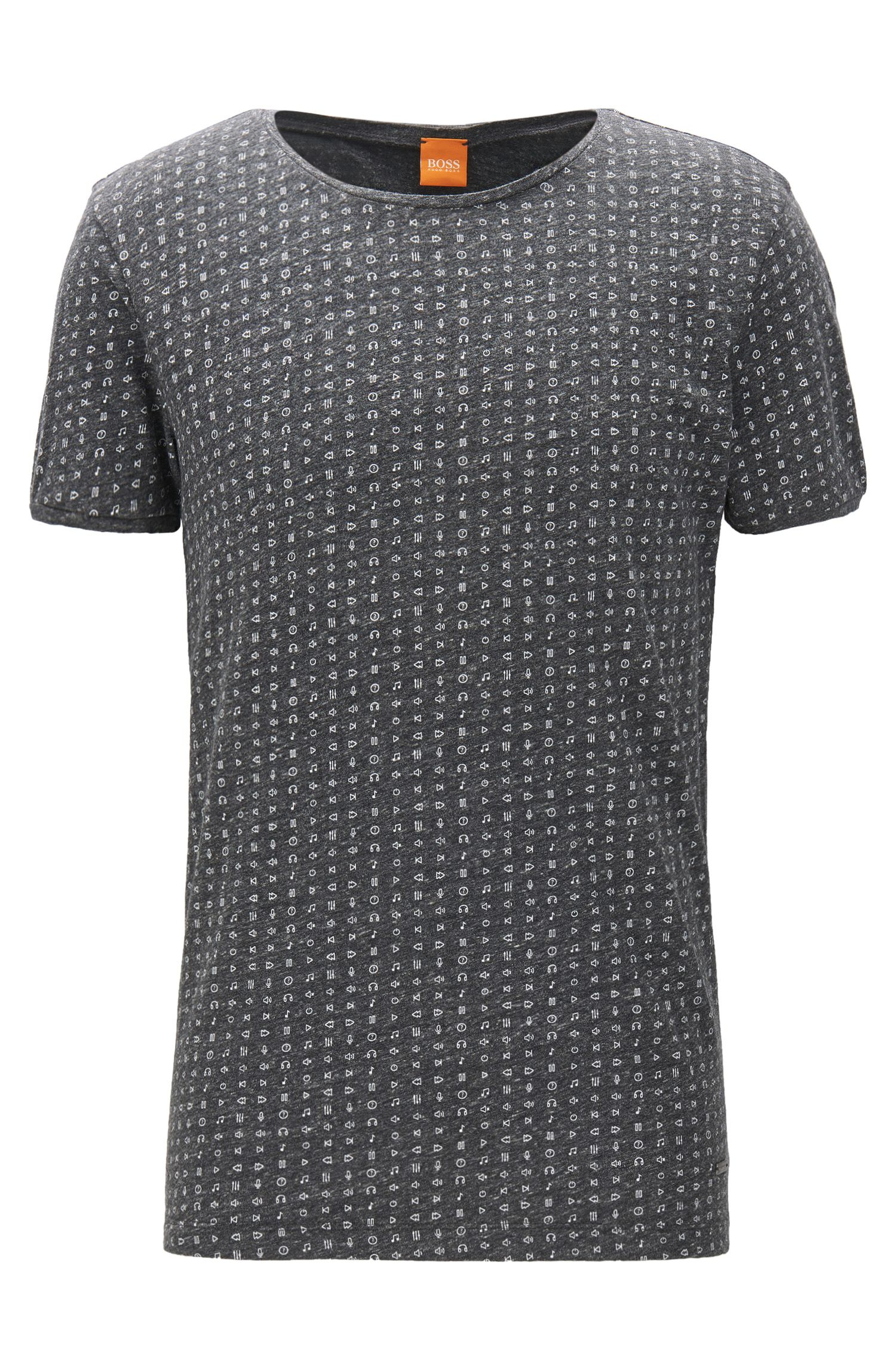 Regular-fit T-shirt in heathered jersey