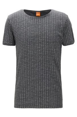 Regular-fit T-shirt van gemêleerde jersey, Zwart