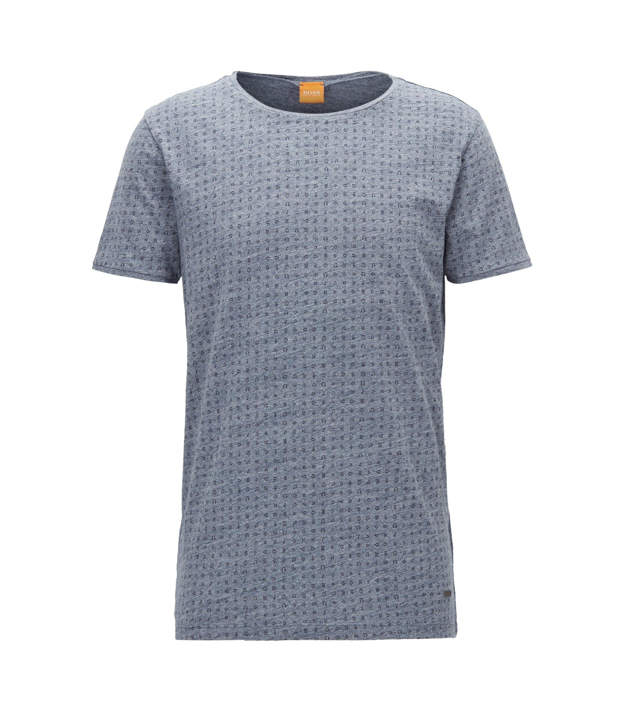 Regular-Fit T-Shirt aus melierter Baumwolle, Dunkelblau