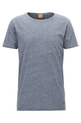 Regular-fit T-shirt in heathered jersey, Dark Blue