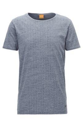 T-shirt Regular Fit en jersey chiné, Bleu foncé