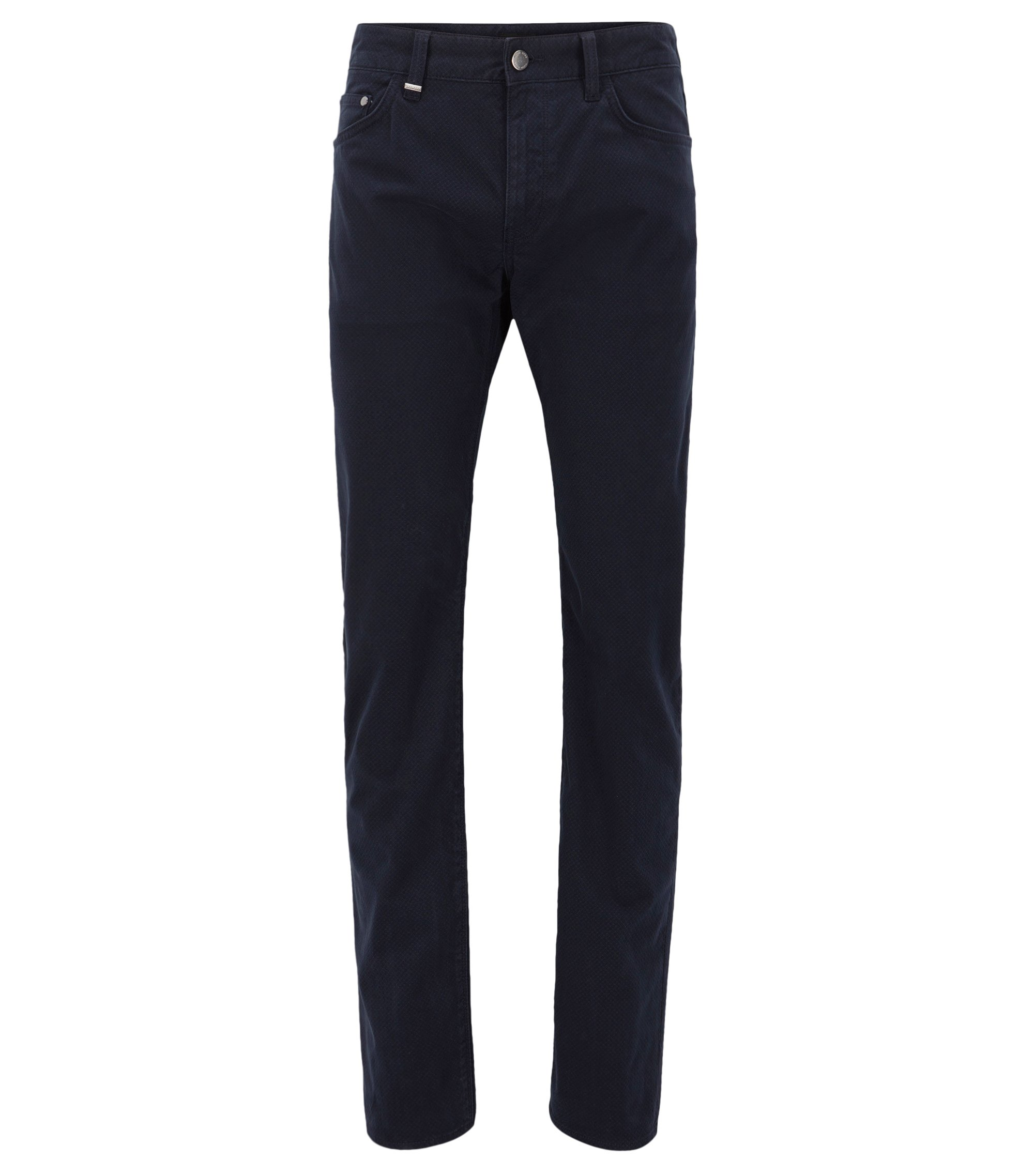 Regular-Fit Jeans aus bedrucktem Stretch-Satin, Dunkelblau