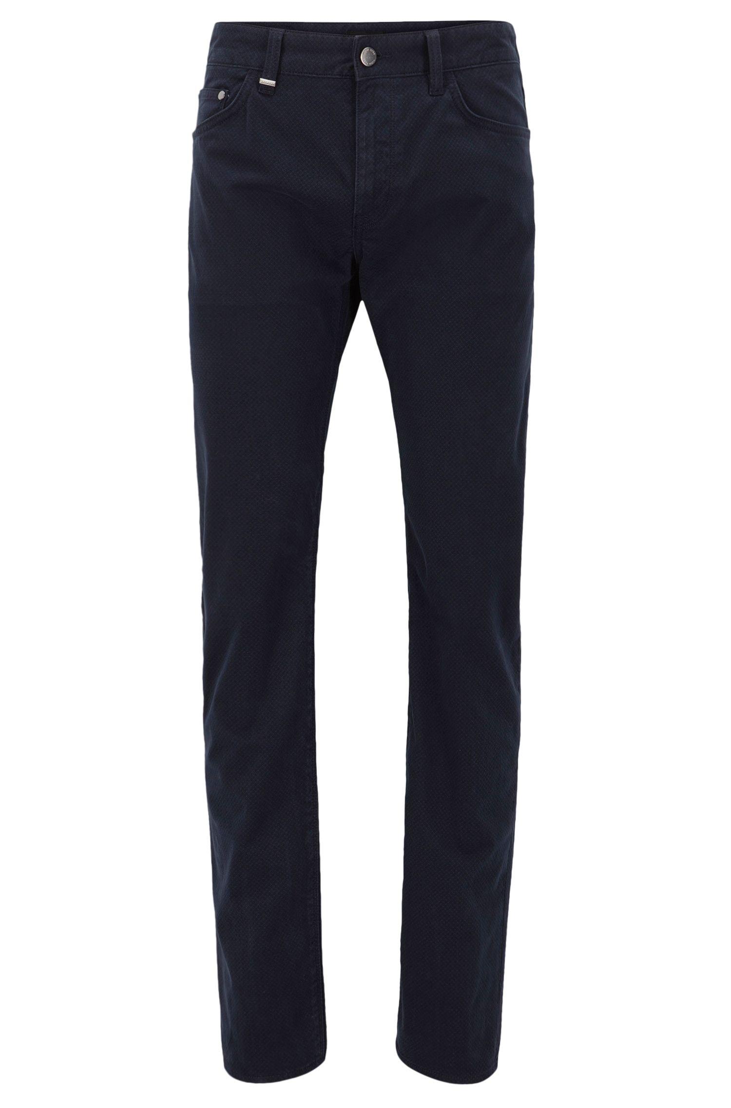 Regular-fit jeans van stretchsatijn met microprint