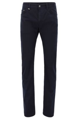 Regular-fit micro-print jeans in stretch satin, Dark Blue