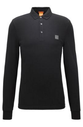 Slim-Fit Longsleeve Poloshirt aus Stretch-Baumwolle, Schwarz
