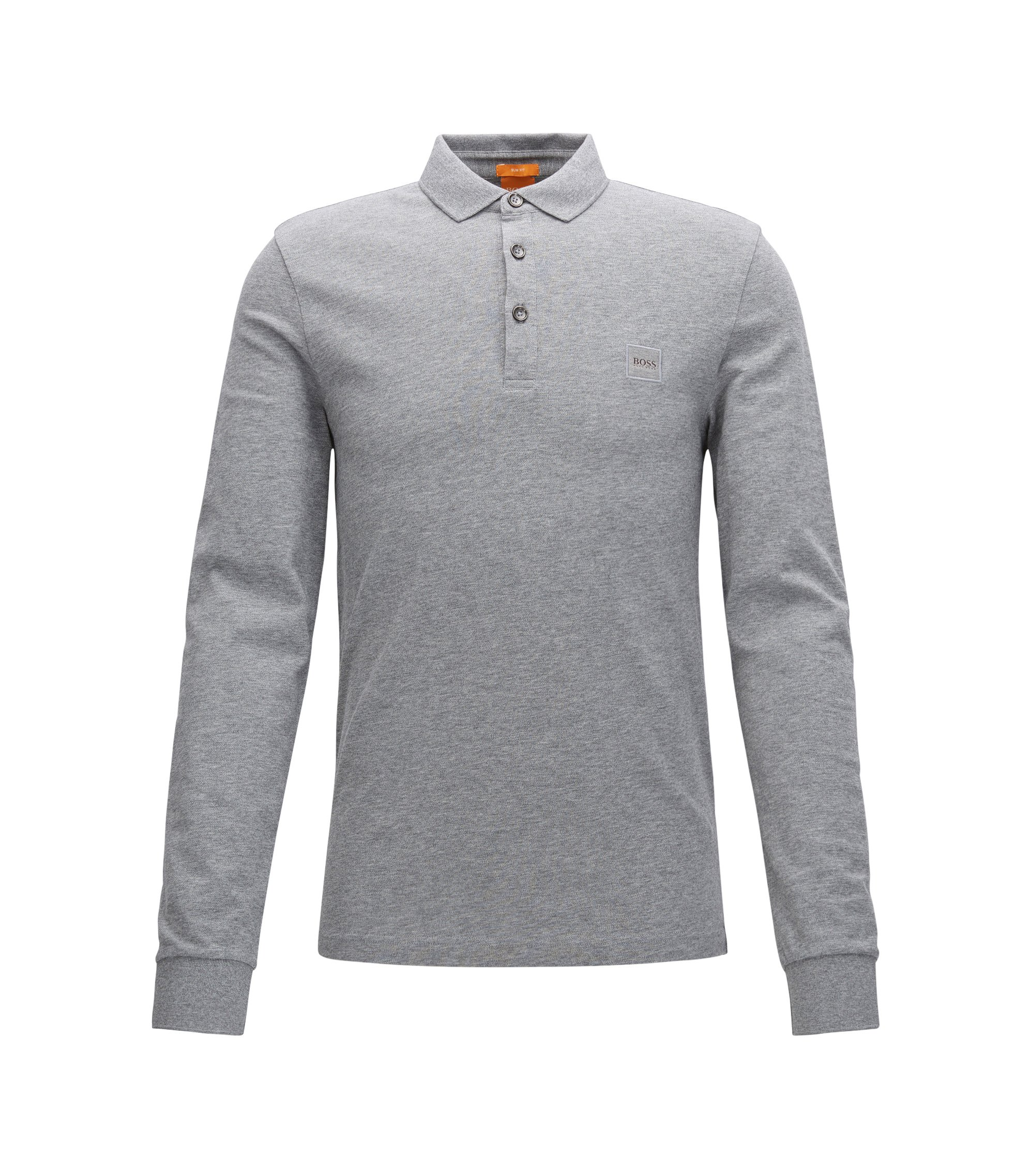 Slim-Fit Longsleeve Poloshirt aus Stretch-Baumwolle, Hellgrau
