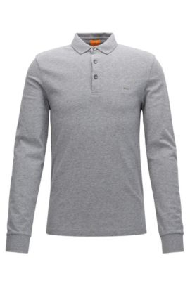Polo Slim Fit en maille piquée, Gris chiné