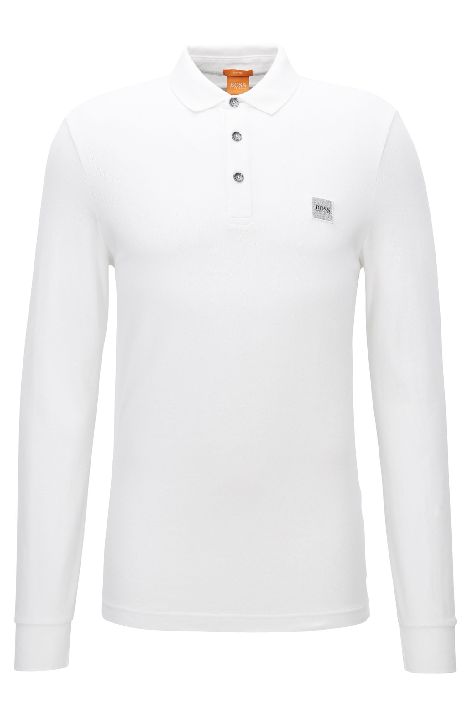 Slim-fit polo shirt in knitted piqué