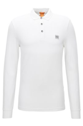 Polo slim fit en piqué de punto, Blanco