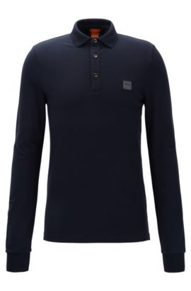 Slim-fit polo shirt in knitted piqué, Dark Blue
