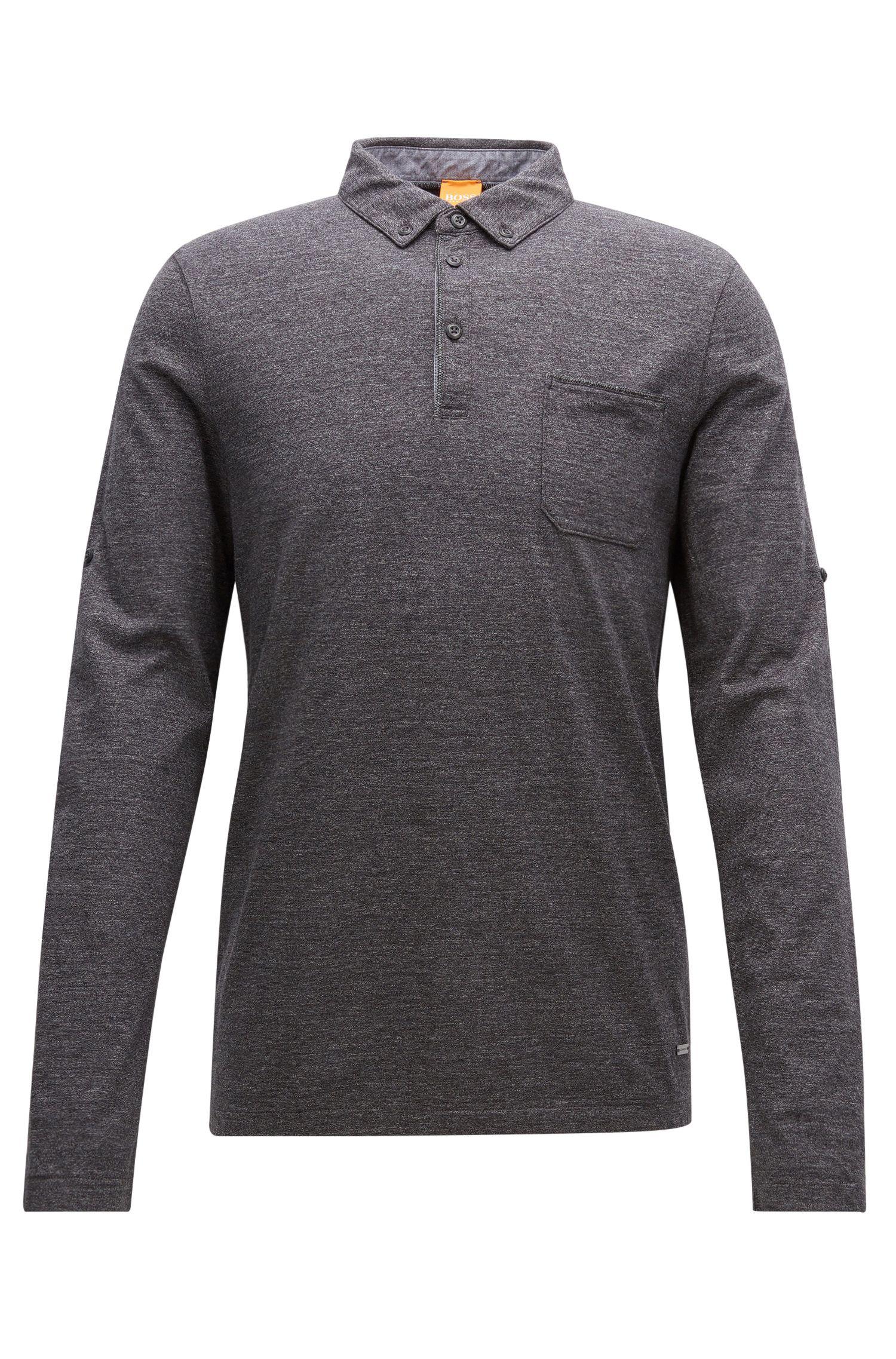 Regular-Fit Longsleeve Poloshirt aus melierter Baumwolle
