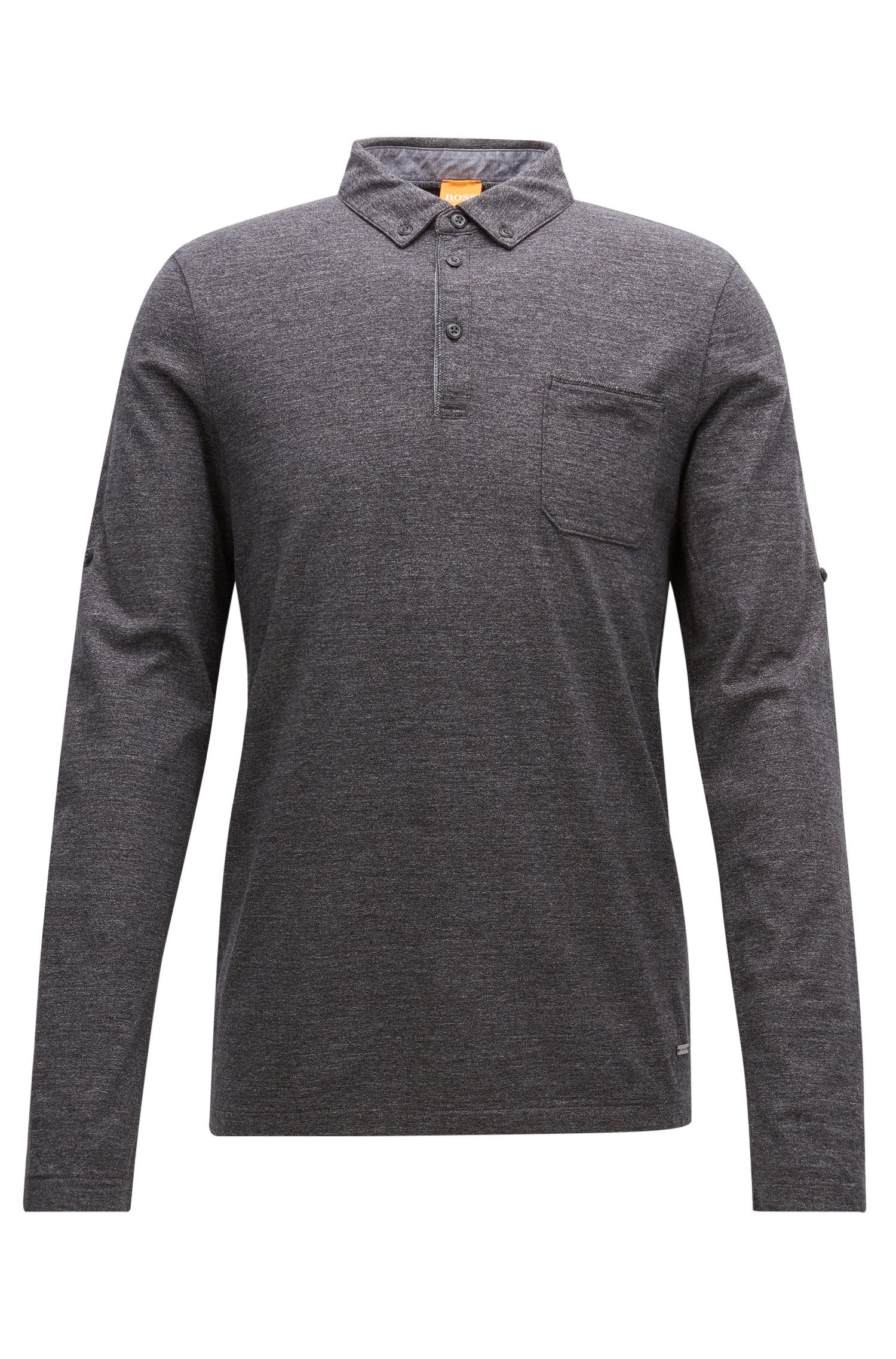 Regular-fit polo shirt in heathered cotton