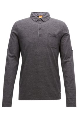 Regular-fit polo shirt in heathered cotton, Dark Grey