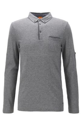 Regular-fit polo shirt in heathered cotton, Grey