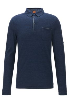 Regular-fit polo shirt in heathered cotton, Dark Blue