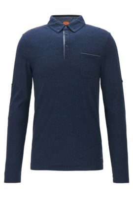 Polo Regular Fit en coton chiné, Bleu foncé