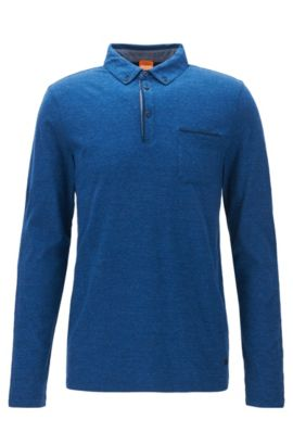 Regular-fit polo shirt in heathered cotton, Blue