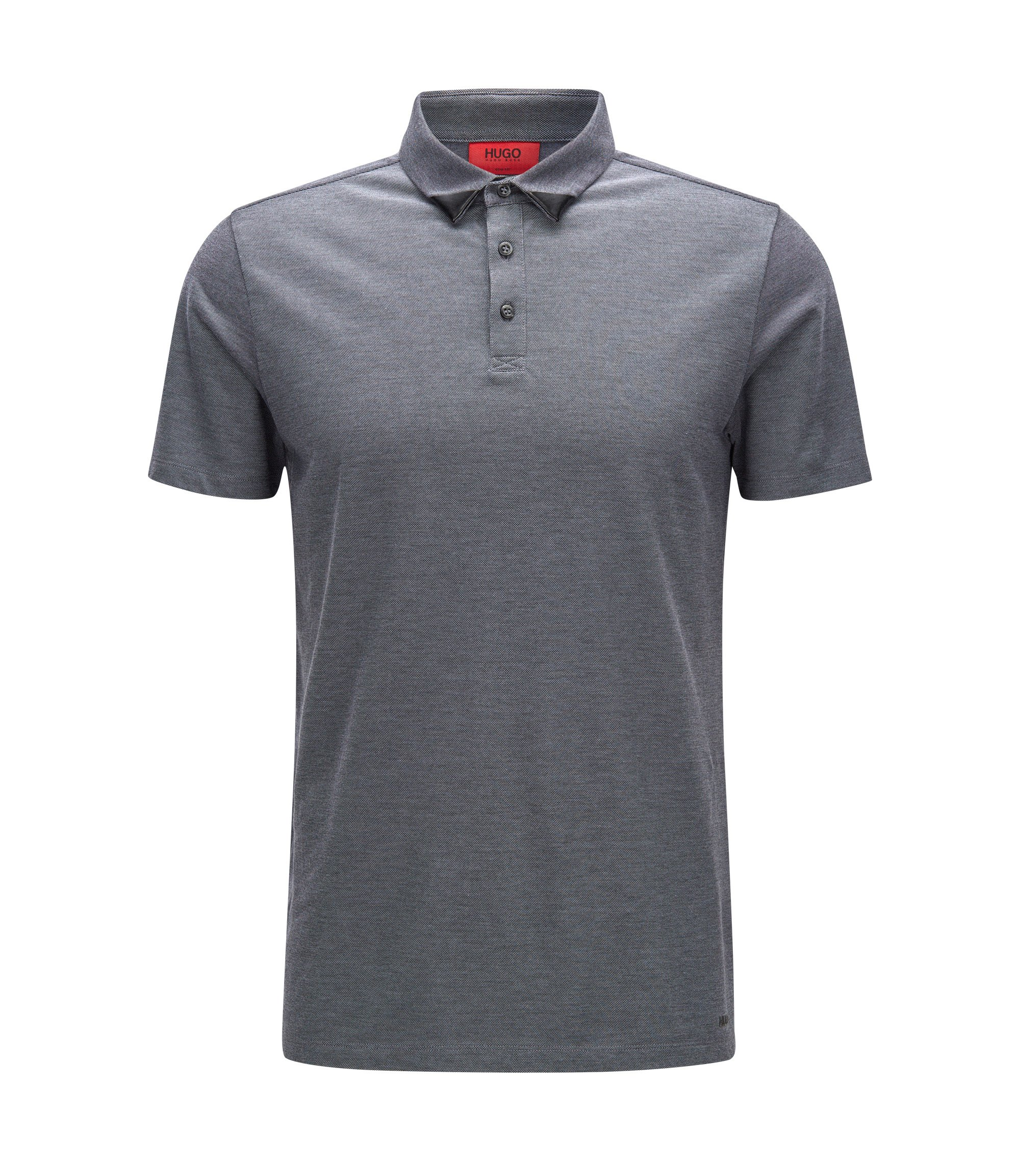 Slim-fit two-tone polo shirt in cotton piqué, Black