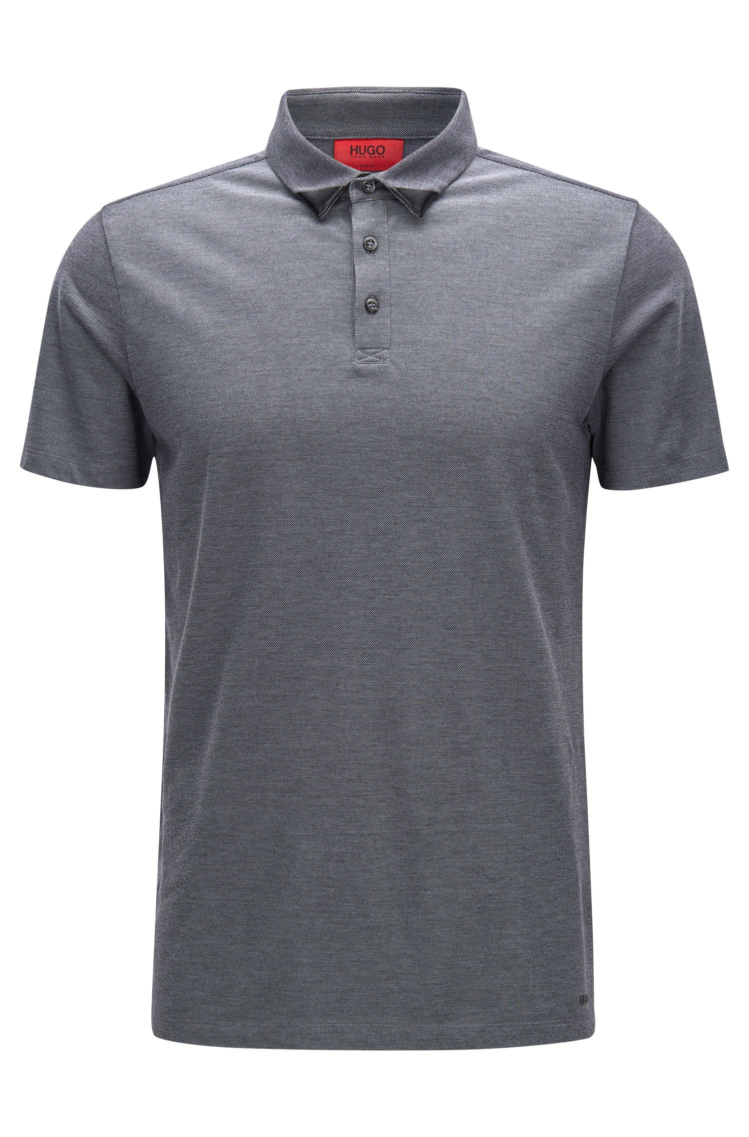 Slim-fit two-tone polo shirt in cotton piqué