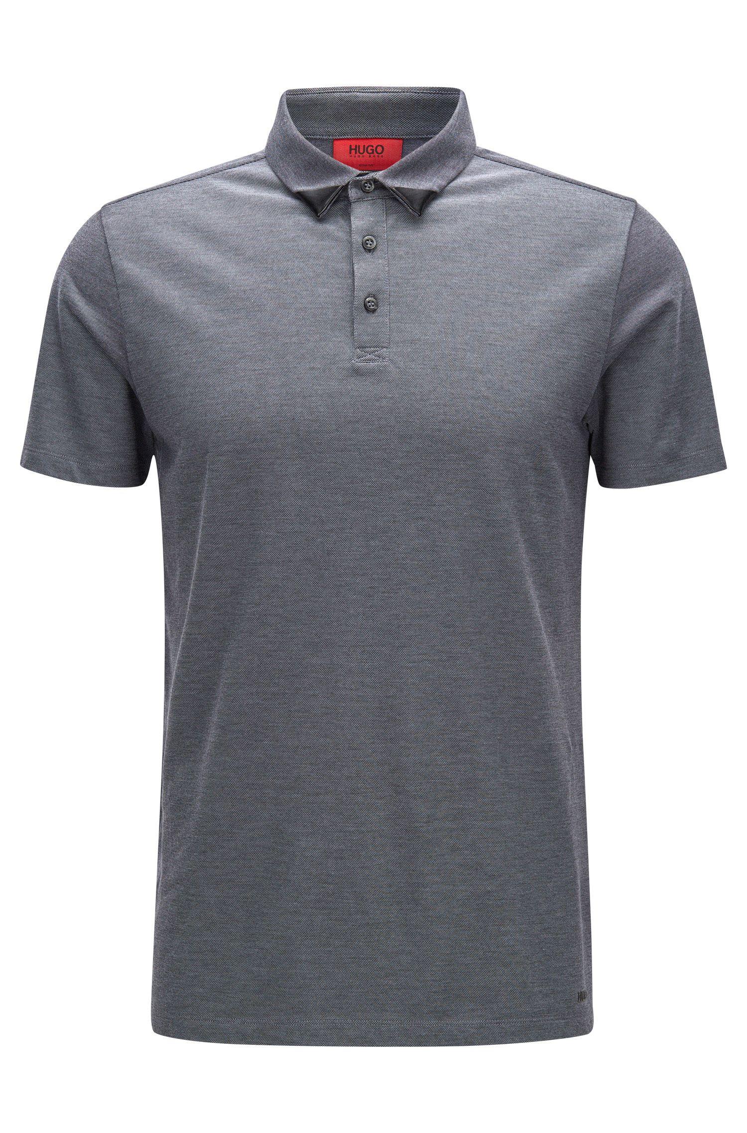 Zweifarbiges Slim-Fit Poloshirt aus Baumwoll-Piqué