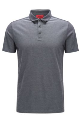 Zweifarbiges Slim-Fit Poloshirt aus Baumwoll-Piqué, Schwarz
