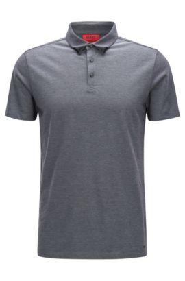 Slim-fit two-tone polo shirt in cotton piqué, Black
